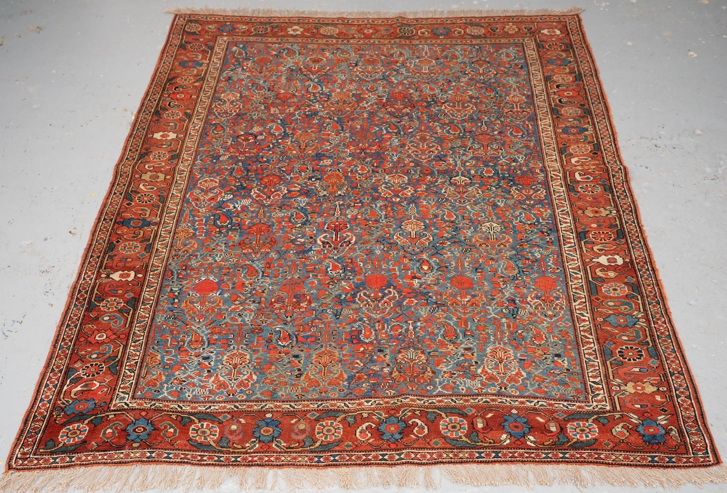 antique khamseh tribal rug very fine all over design circa 1900