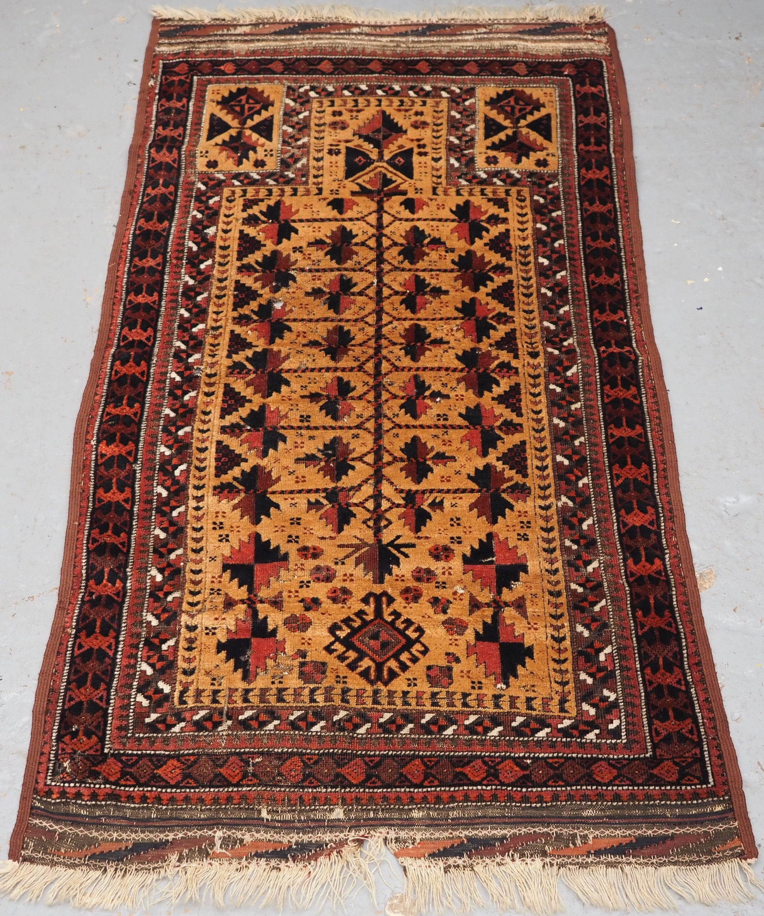 antique sarakh baluch prayer rug camel ground tree of life circa 1880