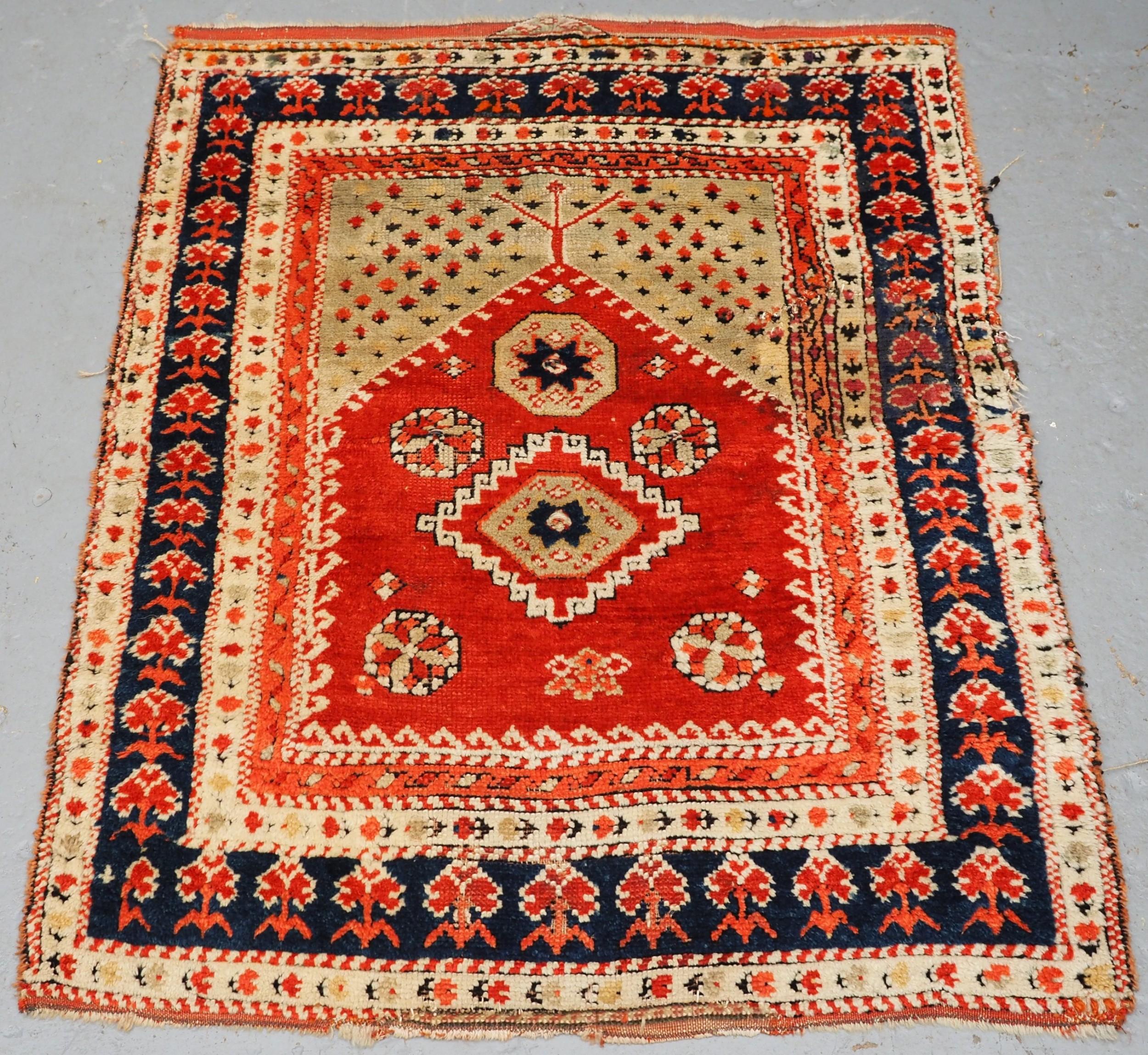 antique turkish bergama region village prayer rug circa 1880