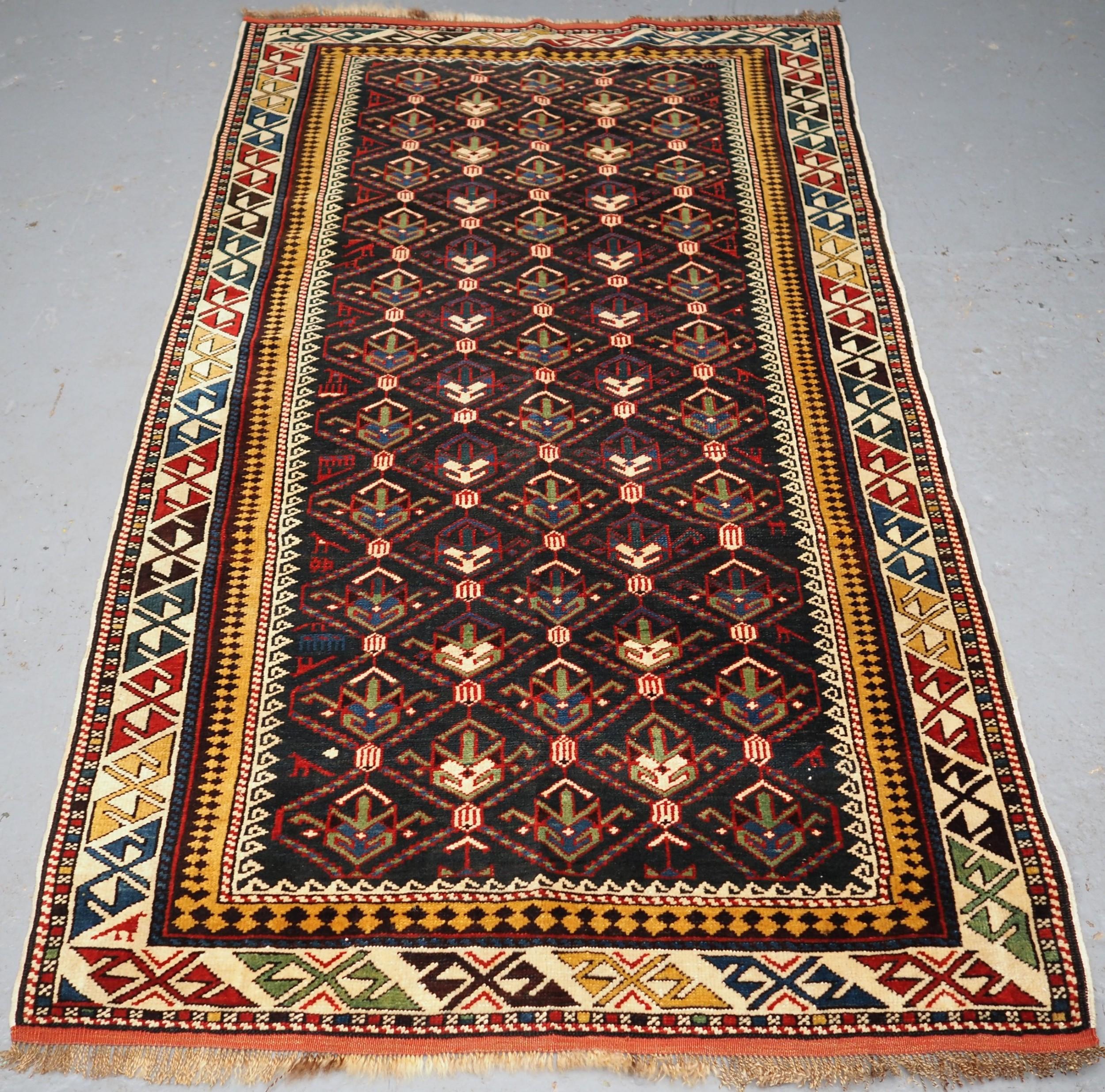 antique caucasian daghestan rug lattice design outstanding condition circa 1900