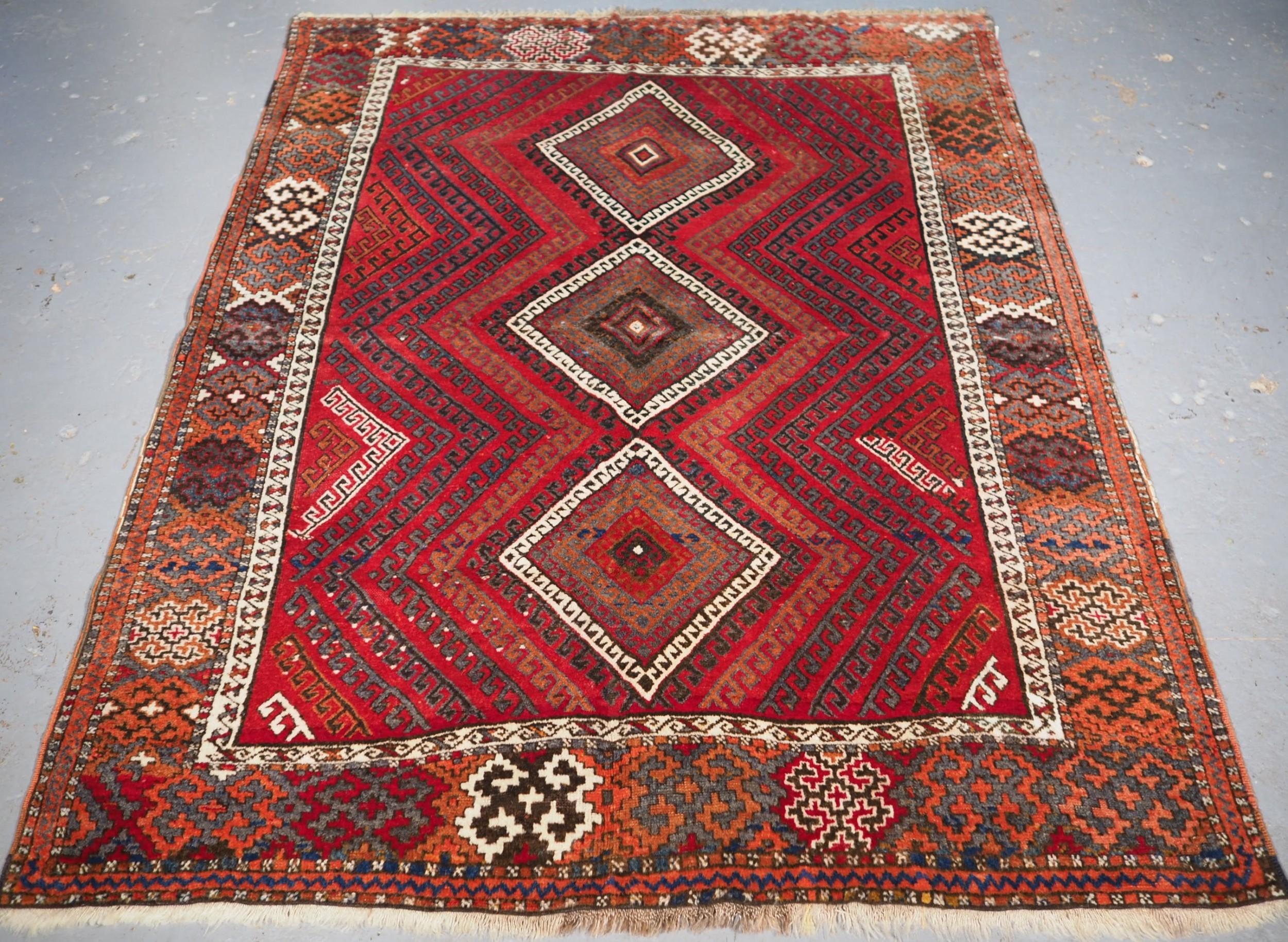 antique turkish kurdish yuruk rug unusual design circa 1900