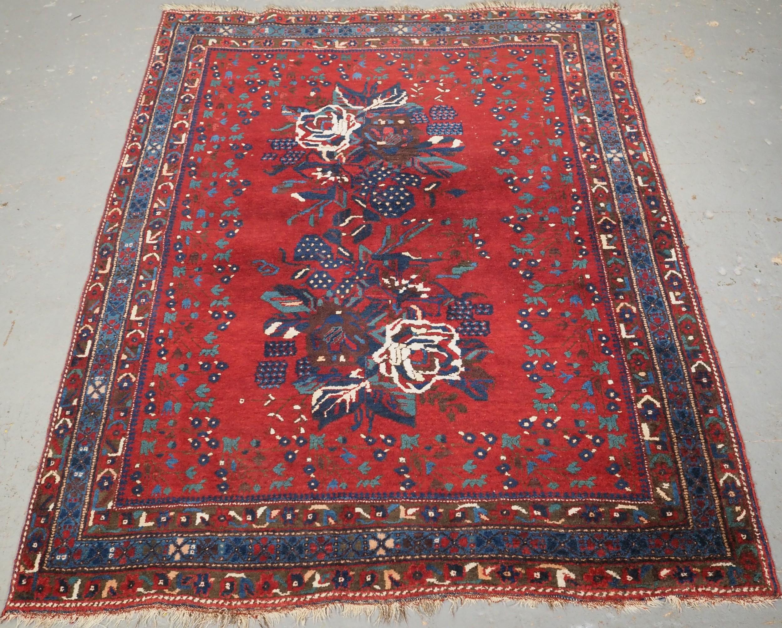 antique afshar rug with floral gul farang design circa 1900