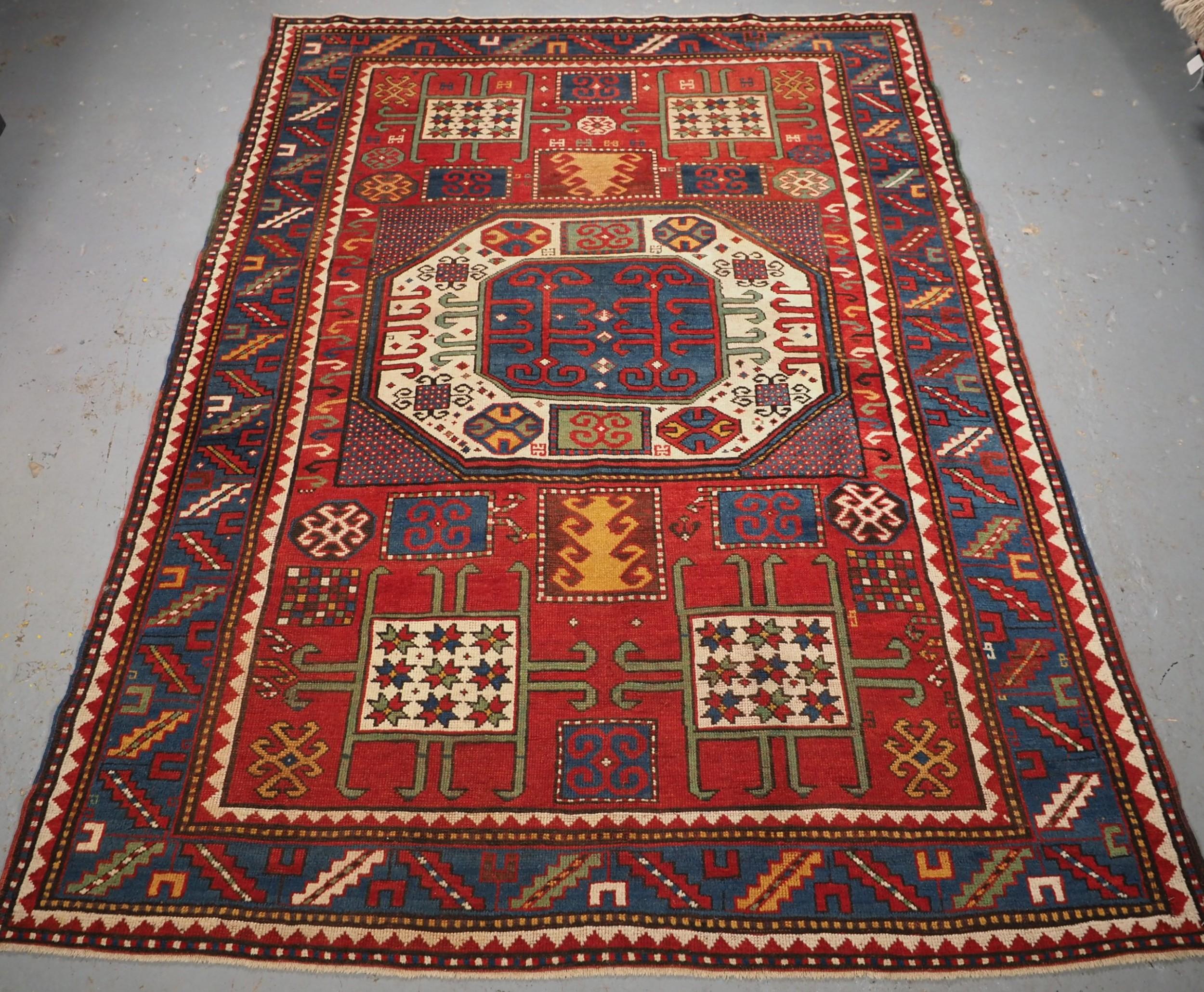 antique caucasian karachov kazak rug of classic design circa 1880
