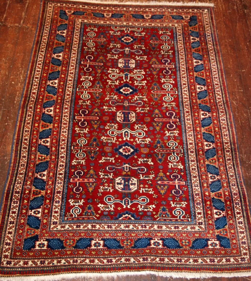 Old Caucasian Kuba Region Perepedil Rug Red Ground Circa