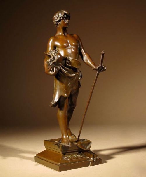 a rare very fine cast small bronze sculpture of en triomphe by antoine bofill 18751921