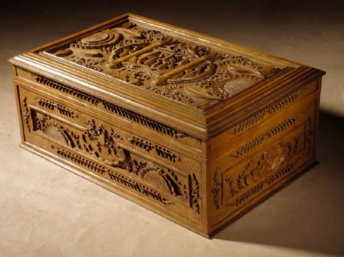 a very fine chinese carved wooden box circa 1880