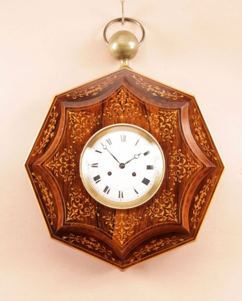 a very decorative rosewoodpalisandre inlaid with lemon wood french wall clockcharles x first half 19th century