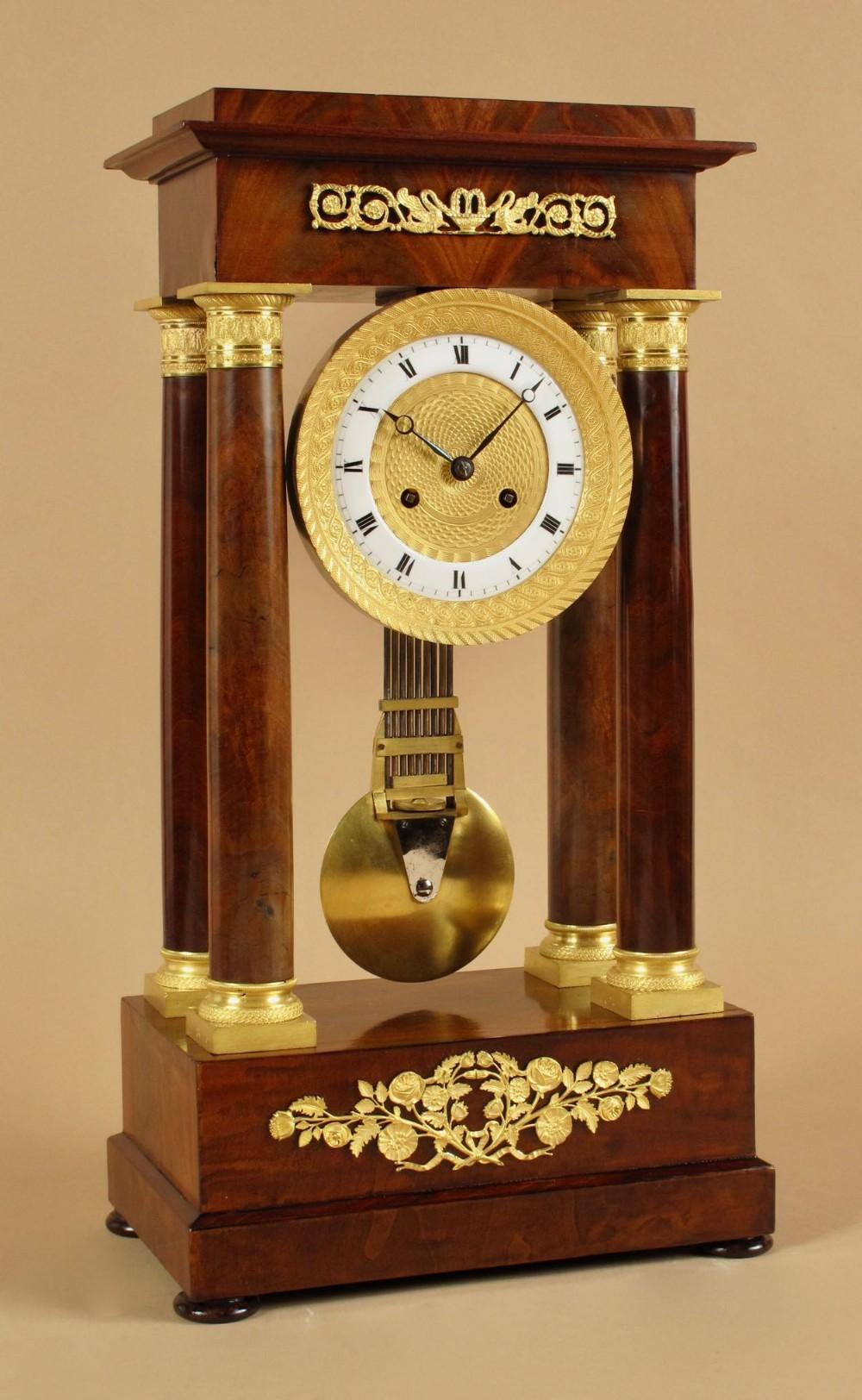 a french very stylish charles x period 18241830 mahogany portico clock