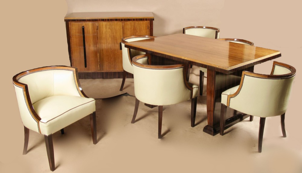 a magnificent art deco dining room suite set made of walnut and madagascar ebony anglo french circa1920
