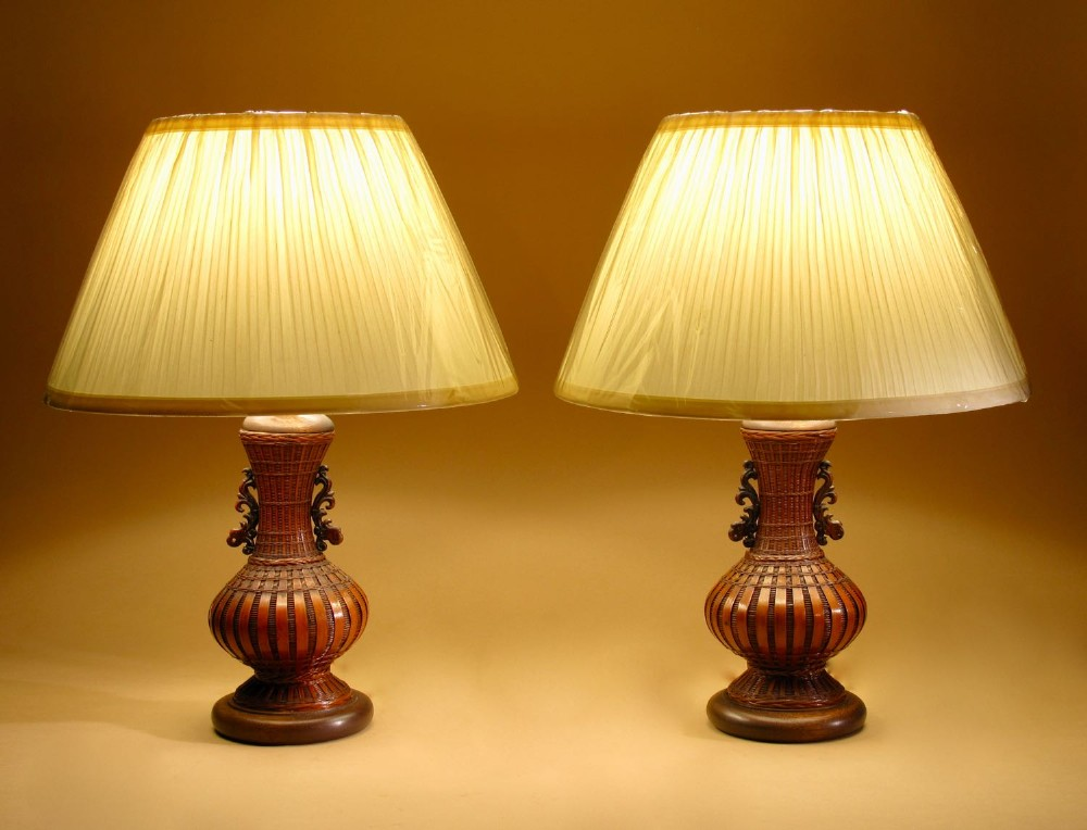 chinese oriental woven bamboo pair of table lamps circa 192030