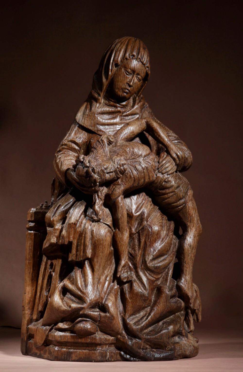 medieval gothic carved oak pieta sculpture gelre circa 15001520