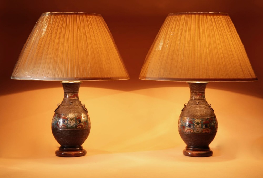 a pair of decorative champlev japanese bronze table lamps