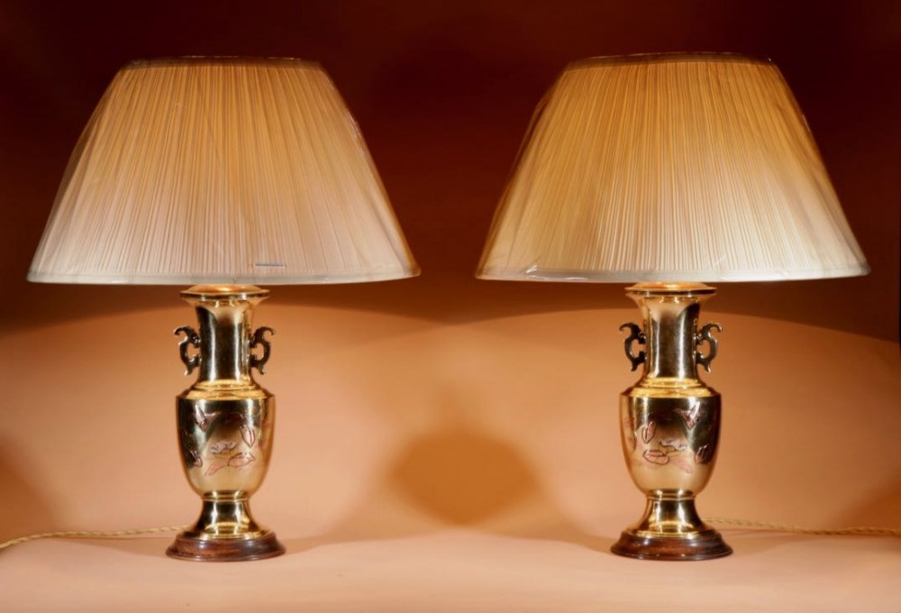 japanese heavy brass cast inlayed pair of table lamps