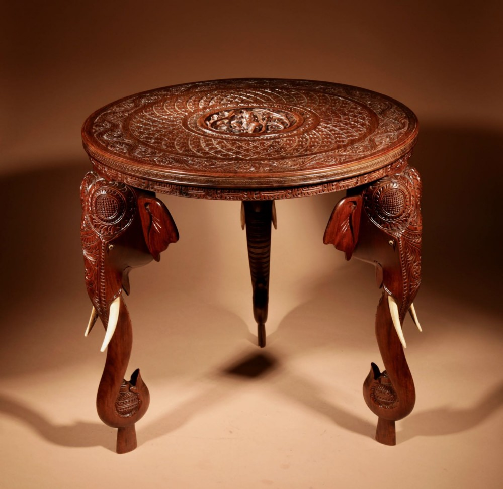 anglo indian fine carved hardwood round side elephant table 19th century