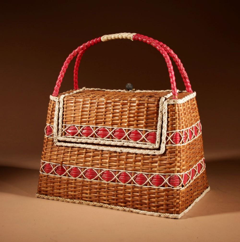 art deco very stylish woven wicker willow bag