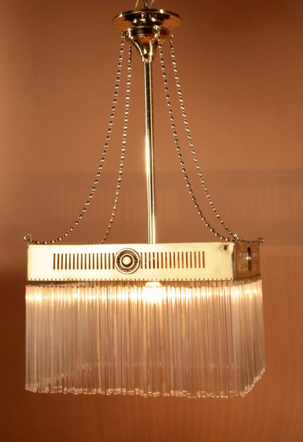 waterfall amsterdam school square brass centre light hanging lamp