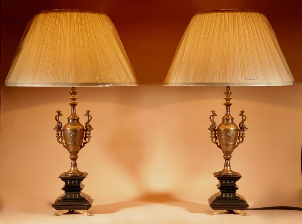 an elegant pair of very stylish lamps
