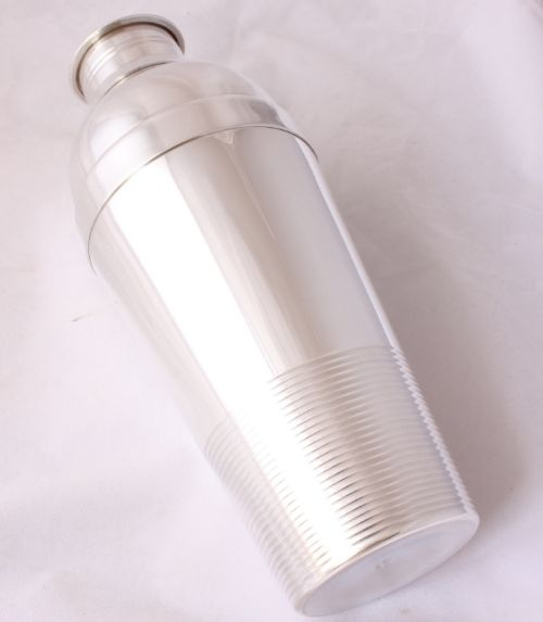christofle gallia france large silver plate cocktail shaker luc lanel art deco 1930's