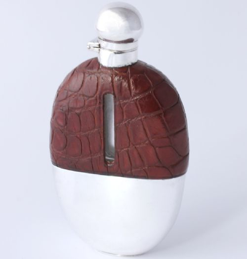 silver plated brown croc leather whisky spirit hip flask with cup