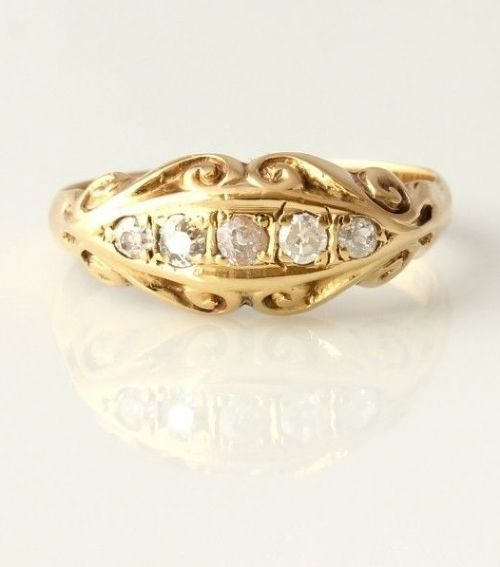 antique 18ct yellow gold diamond five 5 stone gypsy ring 1914 size l 12