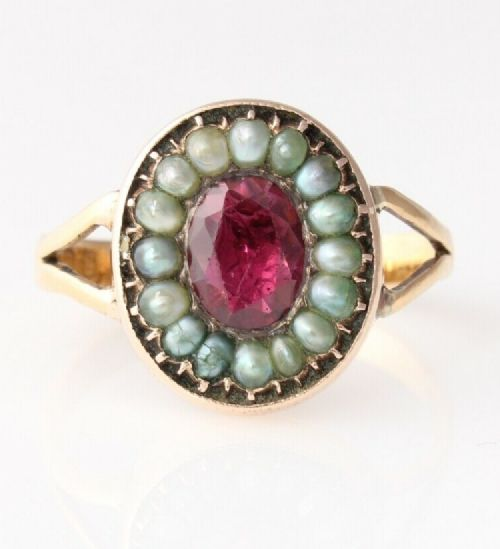 victorian 22ct yellow gold garnet pearl ring 1872 size p 12