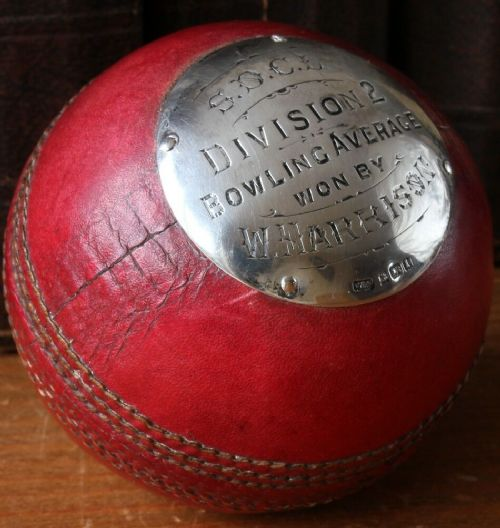 silver mounted leather cricket ball trophy socl bowling average w harrison 1910