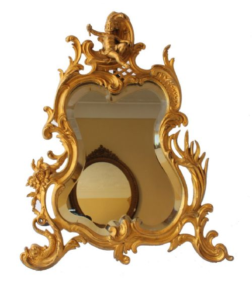french gilt bronze rococo easel back table mirror
