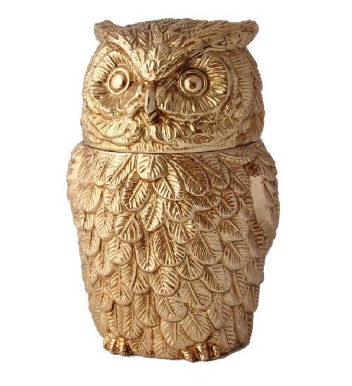 gold gilt metal owl ice bucket mauro manetti