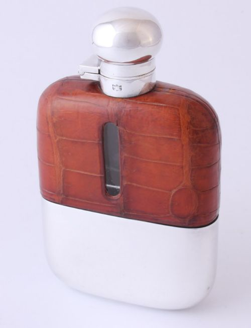 silver plate mock croc leather spirit hip flask by james dixon sons