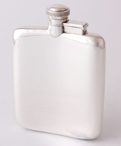 solid silver pocket spirit hip flask james dixon