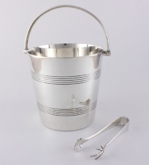 art deco mappin webb silver ice bucket and tongs
