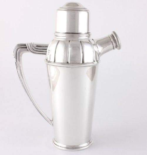 art deco silver plate cocktail shaker with juicer squeezer adie brothers