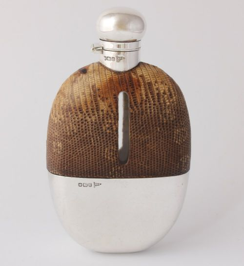 silver snakeskin leather spirit hip flask with cup walker hall