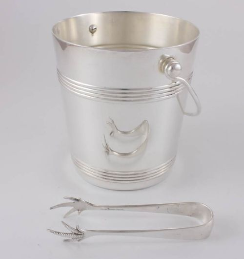 christofle gallia france silver plate ice bucket pail with ice tongs