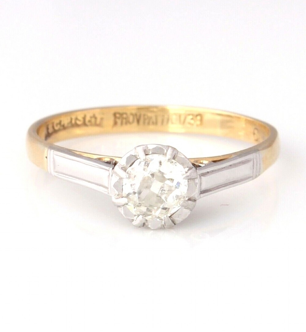 18ct gold platinum set art deco solitaire diamond engagement ring 040ct