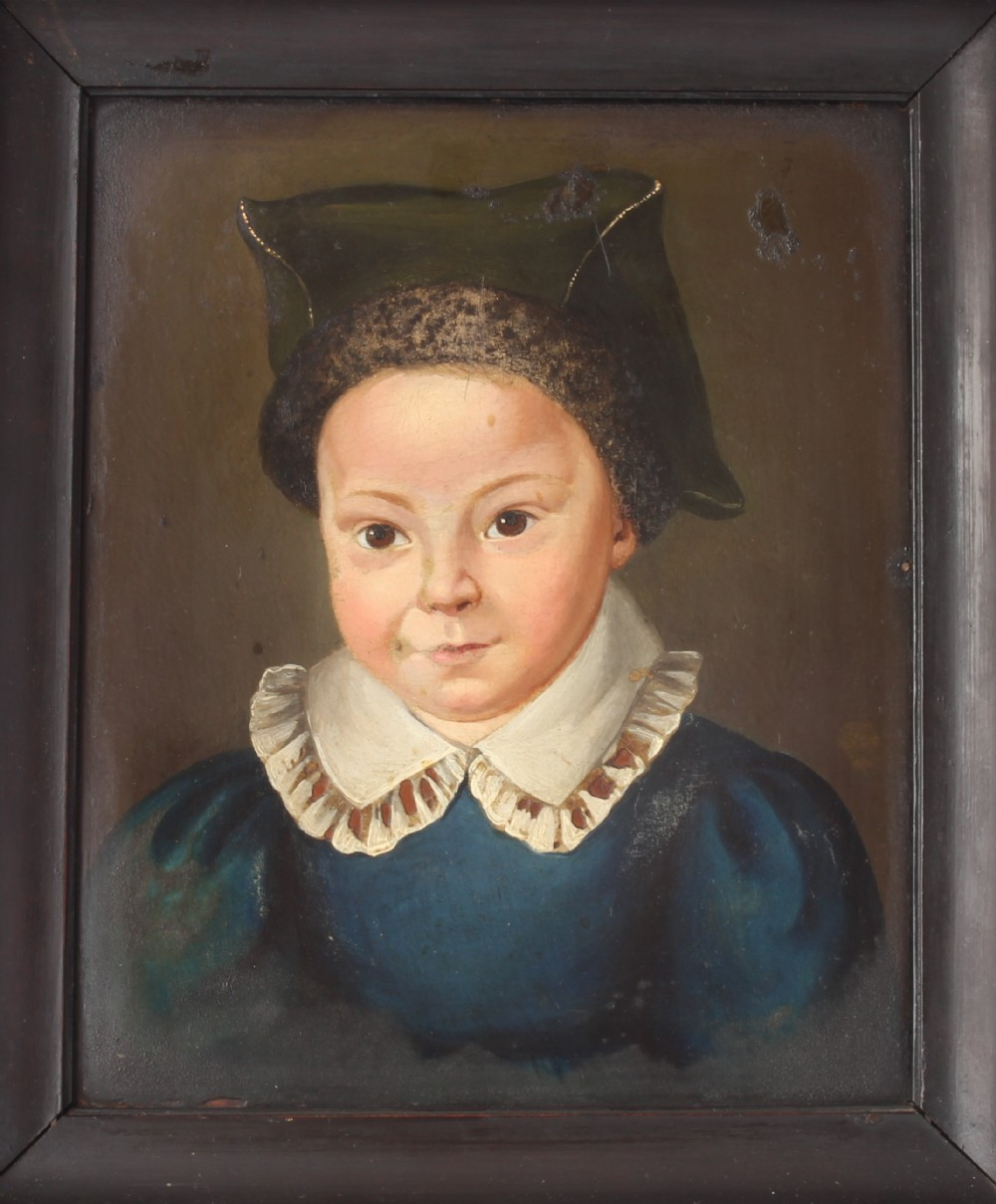 charming antique dutch 19th century young girl child oil painting framed