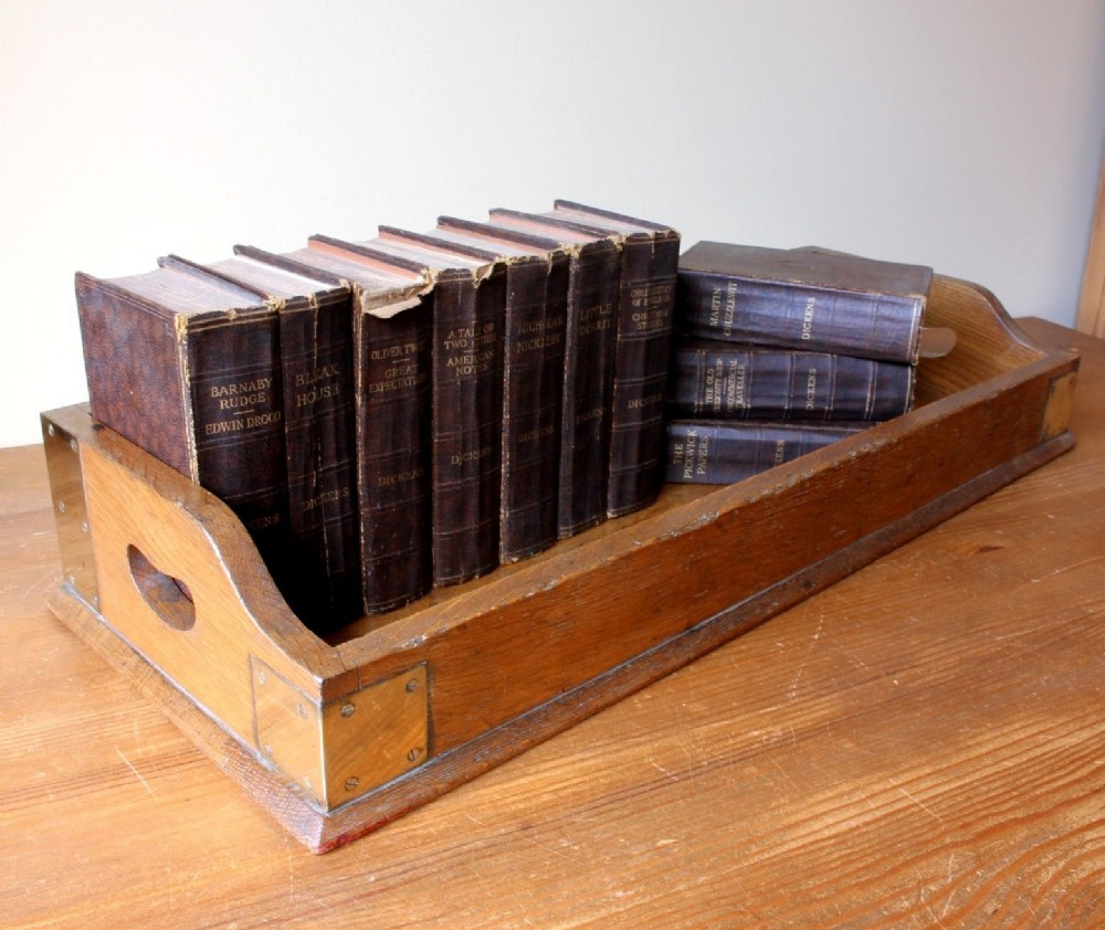 victorian 19th century oak brass library book tray