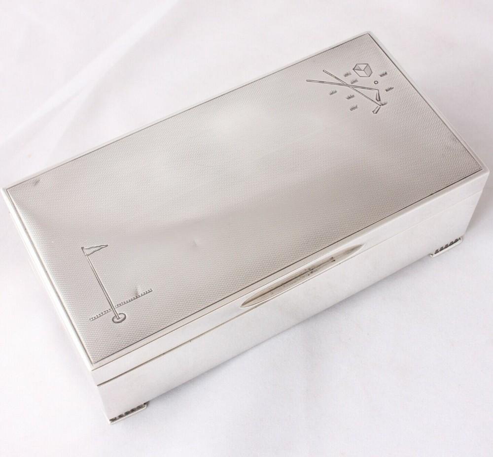 silver mappin webb golfing desk box with art deco golf club design