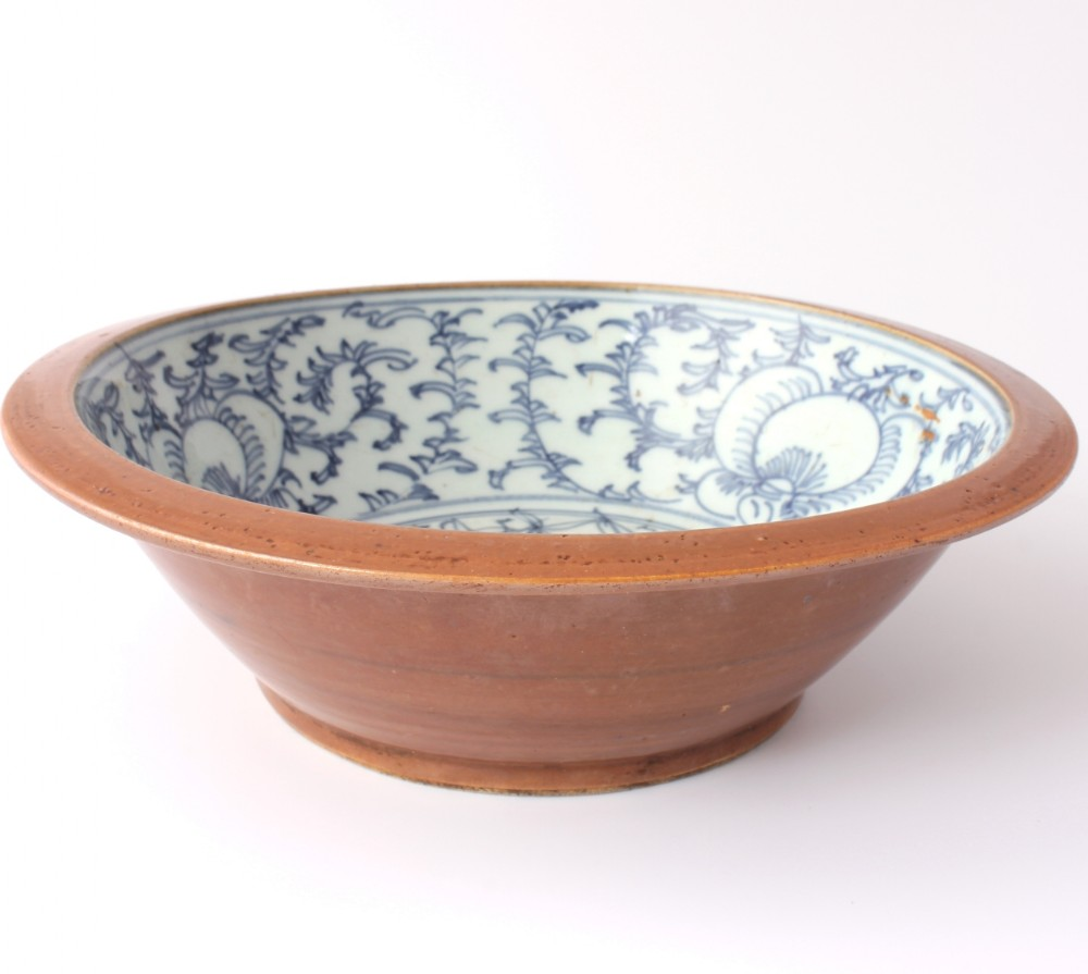 qing blue and white chinese punch or fruit bowl with brown glaze large 19th century lotus blossom bowl