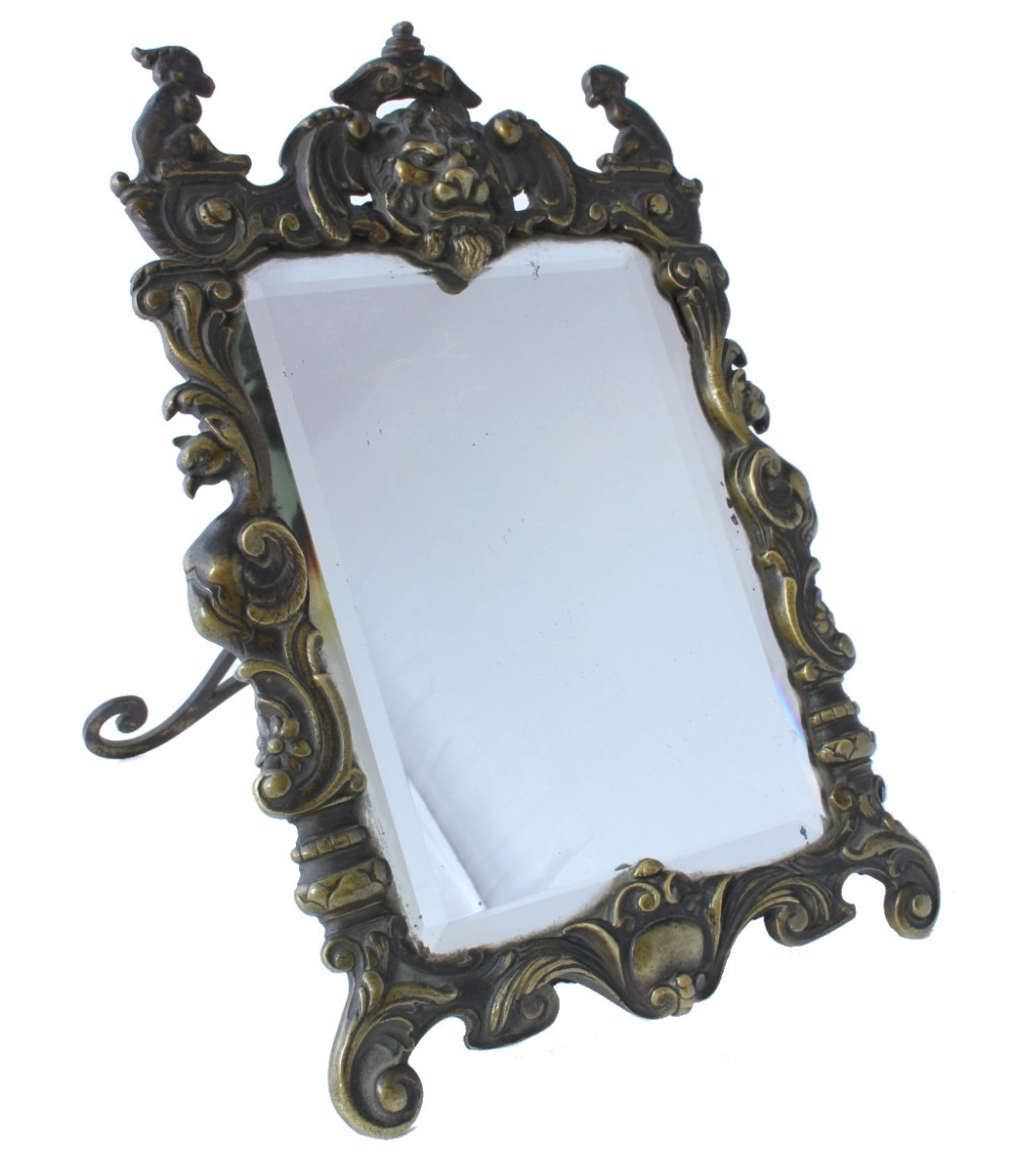 brass dressing table easel back mirror with baroque lion figure
