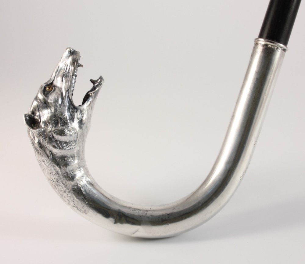 silver wolf dog head handle walking cane stick c1900