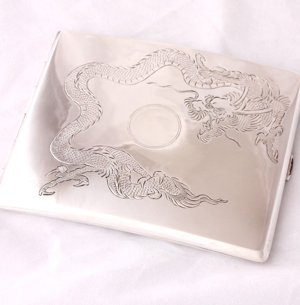sterling silver chinese dragon cigarette case