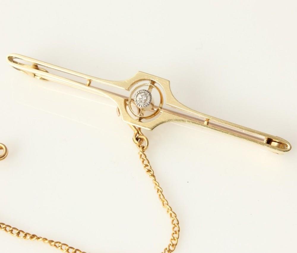 art deco 15ct gold natural diamond bar brooch in case