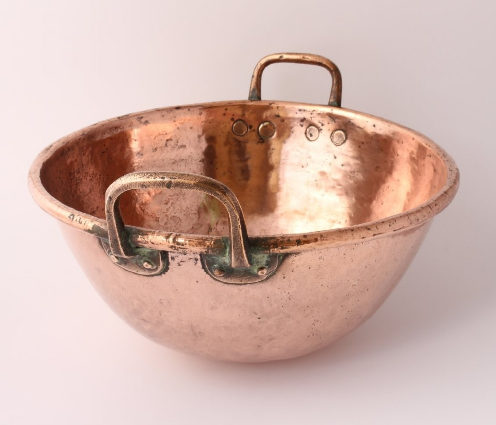 large antique french copper chocolate mixing bowl with handles