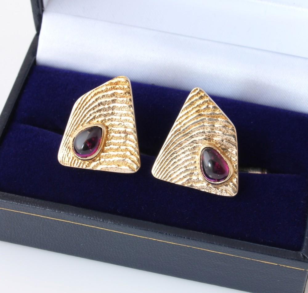 heavy 9ct gold purple amethyst cufflinks 1965