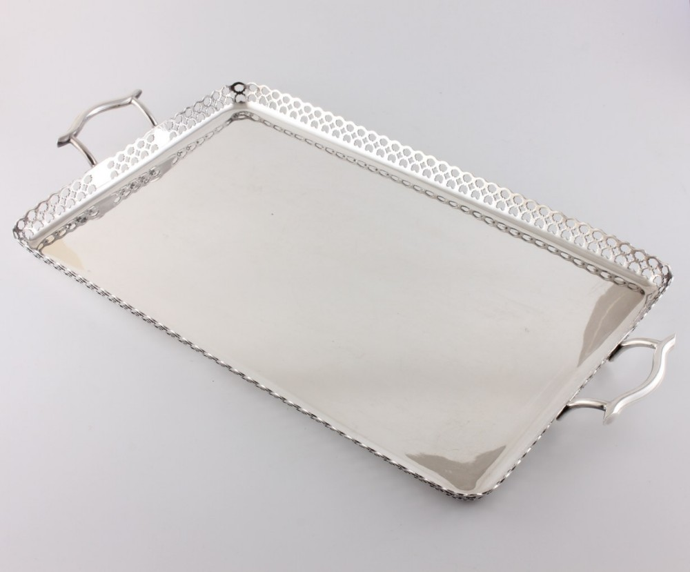 silver plate james dixon pierced design cocktail tray