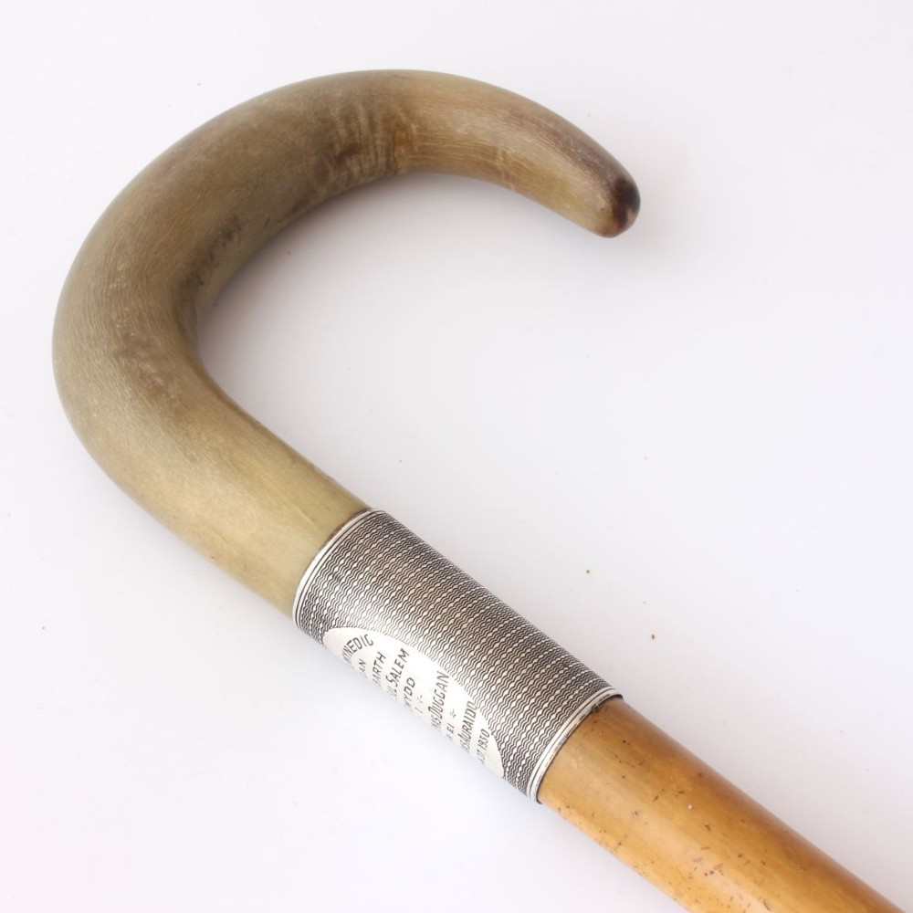 crook horn handle silver walking stick