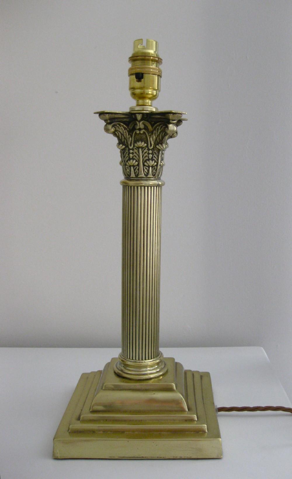 A Victorian Brass Corinthian Column Lamp 309043