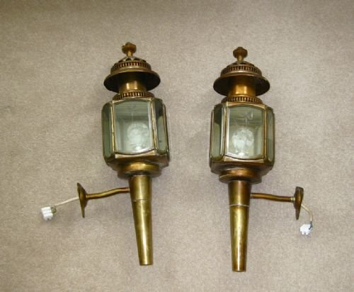 Pair Of Old Coach Lamps
