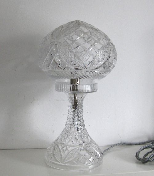 Amazing Antique Crystal Glass Lamp